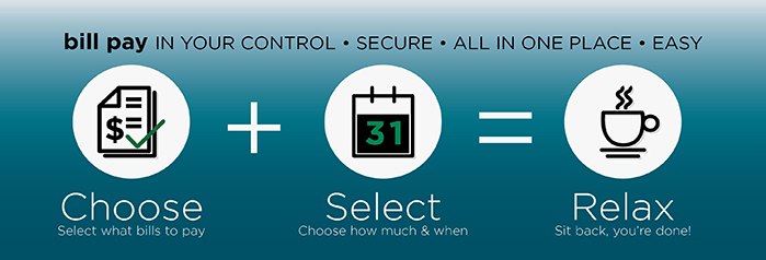 Bill Pay in your control * Secure * All in One Place * Easy Choose plus Select equals Relax  Select what bills to pay.  Chose how much and when.  Sit back you're done