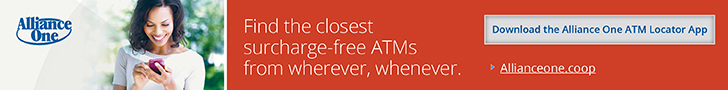 Find the closest Surcharge free ATMs from wherever, whenever.  Download the Allliance One ATM Locator App  www.allianceone.coop