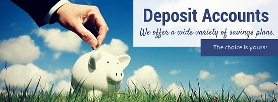 Deposit Accounts We offer a wide variety of savings plans