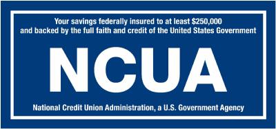 Your Savings federally insured to at least $250,000 and backed by the full faith and credit of the United States Government.  NCUA  National Credit Union Administration, a US Government Agency