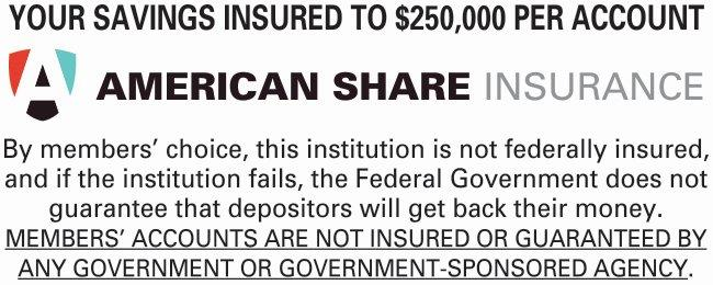 Your savings insured to $250,000 per account.  American Share Insurance.  By members'choice, this institution is not federally insured, and if the institution fails, the Federal Government does not guarantee that depositors will get back their money.  The next sentence is underlined. MEMBERS' ACCOUNTS ARE NOT INSURED OR GUARANTEED BY ANY GOVERNMENT OR GOVERNMENT-SPONSORED AGENCY
