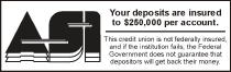 ASI you deposits are insured to $250,000 per account.